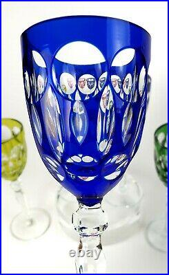 Antique Stemware Various Cut-to-Clear Colors 7 7/8 Tall 8 Wine Goblets