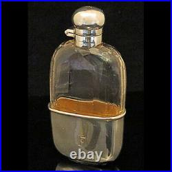 Antique Sterling Silver & Cut Glass Spirits Flask, 1910