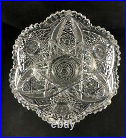 Antique Straus Macys ABP Brilliant Cut Glass 10 2-Piece Punch Bowl with Stand