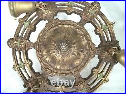 Antique Victorian 3 Arm Painted Chandelier With Frosted And Cut Glass Shades