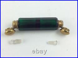 Antique Victorian green cut glass lay down dual perfume scent bottle