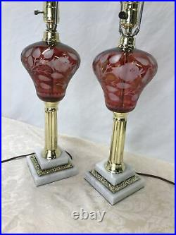 Antique Vtg 1800s Cranberry Ruby Red Cut Etch Glass Table Lamp Pair Marble Base