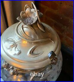 Antique WMF Large Art Nouveau Punch Bowl Silver Plated Cut Glass with Stand Lid