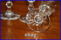 Antique cut crystal toasting liquer glasses Edwardian thistle shaped bowls 1900s