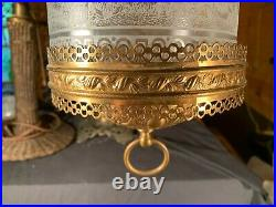 Antique ornate Brass hanging hall library oil lamp fixture Acid Cut Scenic Shade