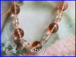 Antique vintage Champagne glass crystal beads multi facet cut old bead Necklace