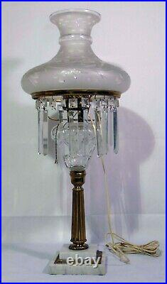 Astral Sinumbra Lamp Brass Base Frosted Cut Glass Shade Prisms