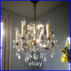 Beautiful French Antique / Vintage 5 light Cut Glass & Crystal Chandelier