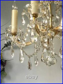 Beautiful French Antique / Vintage 5 light Cut Glass & Crystal Chandelier3Avai