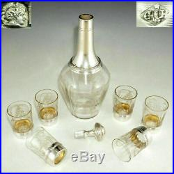 Boxed Set French Sterling Silver & Cut Glass Liquor Carafe Decanter Shot Glasses