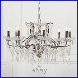 Chrome Colour Large 8 Arm French Style Shallow Cut Glass Chandelier