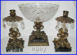Cut Glass Console Bowl Candlestick Set Black Marble Dolphin Base Roses Star