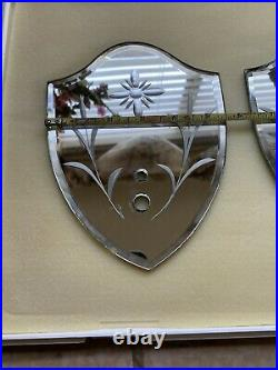 Cut Or Etched Shield Mirrors Vintage Antique Sconce Repair Salvage Restore