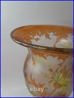Dorflinger Honesdale Gold & Yellow Cut to Clear Iridescent Cameo Glass Vase- 14