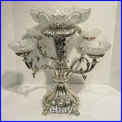 English Silverplate and Cut Glass Epergne Centerpiece with Lord Byron Crest
