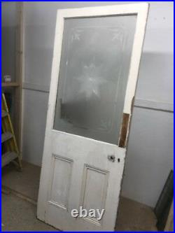 Etched Cut Glass Victorian Porch Door Reclaimed Old Period Antique Wood Inner