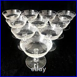 FABULOUS ANTIQUE FRENCH CRYSTAL CHAMPAGNE COUPES/SAUCERS x10 EDWARDIAN c1910