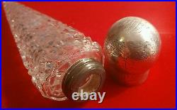 Fabulous Victorian'lay Down' Silver Top Cut Glass Perfume Flask H/m London 1863