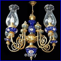 French Empire Gilt Brass Blue Limoges Porcelain and Cut Crystal Glass Chandelier