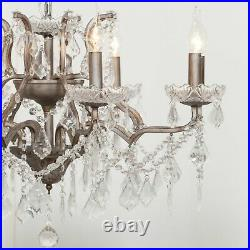 French Style 8 Arm Branch Antiqued Silver Shallow Cut Glass Chandelier