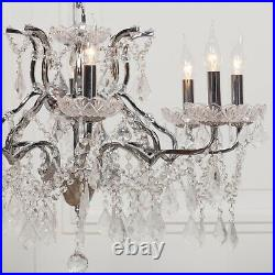 French Style Large Chrome 8 Arm Branch French Shallow Cut Glass Chandelier