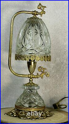 French crystal glass cut brass table lamp 1960