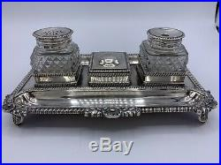 George III Silver and Cut Glass Inkstand 1814 London Hallmarked Inkwell
