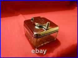 Georgian 1817 Solid Silver And Cut Glass Travelling Inkwell. Lovely Piece