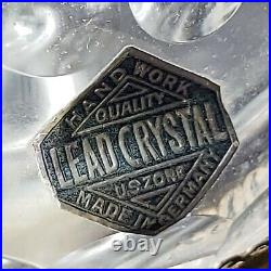 Gorgeous Antique Cut Crystal Glass Lamp With Large Prism Crystals Germany U. S. Zone