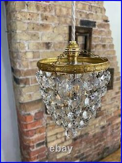 Gorgeous Vintage / Antique Cut Crystal Glass Bag Chandelier c Early Mid 1900's