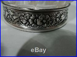 Gorham Inkwell S633 Antique Victorian American Sterling Silver Cut Glass