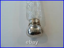 HUGE 12 ANTIQUE LAY-DOWN CUT GLASS SCENT BOTTLE with SILVER OVER BRASS TOP