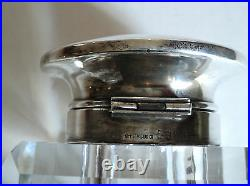 LARGE 19th C. ANTIQUE CUT GLASS INKWELL with STERLING SILVER TOP