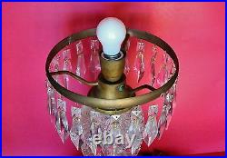 LARGE OLD American Brilliant Crystal Hand Cut Glass Table Lamp with Brass Fittings