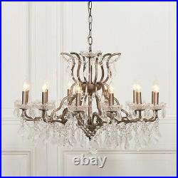 Large 12 Arm Branch Antiqued Silver Shallow French Style Cut Glass Chandelier