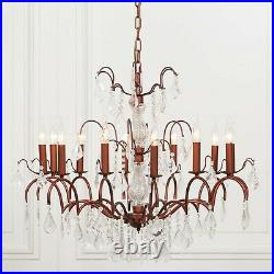 Large 12 Branch Arm French Style Bronze Cut Glass Chandelier