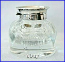Large Antique 1896 John Grinsell & Sons London Sterling Silver Cut Glass Inkwell