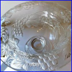 Large Antique Intaglio Glass Grape Cut Crystal Compote ABP Tuthill