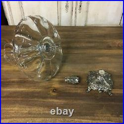 Large Antique Style Glass With Metal Base Epergne Centerpiece Unmarked VTG 2 Tier