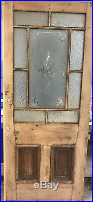 Large Cut Glass Victorian Front Door Reclaimed Old Period Antique Cedar Wood
