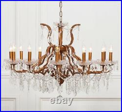 Large Gold 12 Arm Branch French Style Shallow Cut Glass Chandelier High Quality