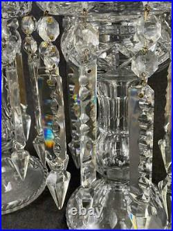 Large Pair Antique Victorian Cut Glass Clear Crystal Mantle Lusters Candleholder