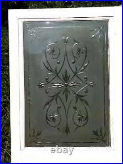Large Victorian Edwardian Etched Cut Glass Front Door Antique Period Reclaimed