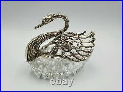 Large Vintage Solid Silver And Cut Glass Swan Dish Fully Hallmarked