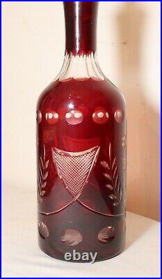 Large antique red cut to clear Czech Bohemian crystal glass decanter bottle