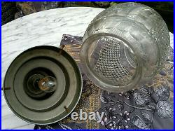Large c1930 Art Deco Cut Crystal Glass Acorn Shade Ceiling Hall Light 15 Drop