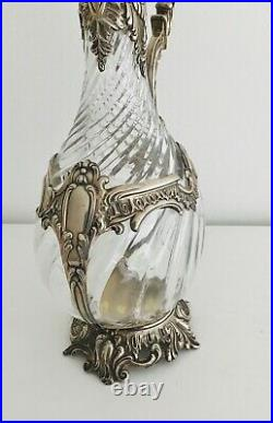 Lovely Antique 19th Century French Sterling Silver &Cut Glass Claret Jug Pitcher