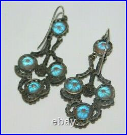 Magnificent Antique Victorian Large Early SAPHIRET Glass Cut Steel Hook Earrings