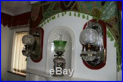 Magnificent Pair Of Perfect F C Osler Mirrored Girondelle Cut Glass Oil Lamps