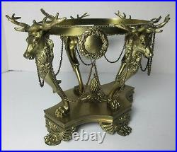 PAIRPOINT CENTERPIECE BOWL DEER STAGS BASE CUT GLASS BOWL LARGE SIGNED Antique
